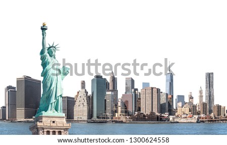 The Statue of Liberty with high-rise building in Lower Manhattan, New York City, isolated with clipping path #1300624558