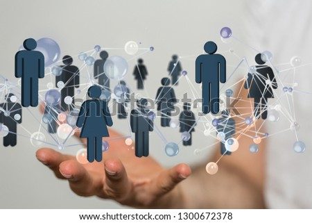 cyber network in hand #1300672378