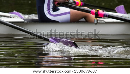 Durham / Great Britain - June 14, 2014: Oar leaving the water during a race.  Regatta on the River Wear, Durham. #1300699687