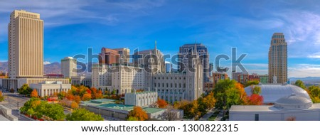 The historic Temple Square in Salt Lake City Utah Royalty-Free Stock Photo #1300822315