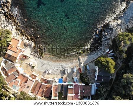 Aerial shot of Cala S'Alguer (Palamós) #1300831696