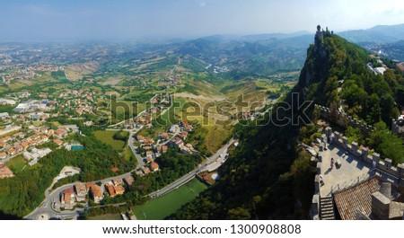Medieval Tower of Cesta on Monte Titano. Rocca della Guaita, Spectacular view of the Castle of San Marino republic, Italy.  #1300908808