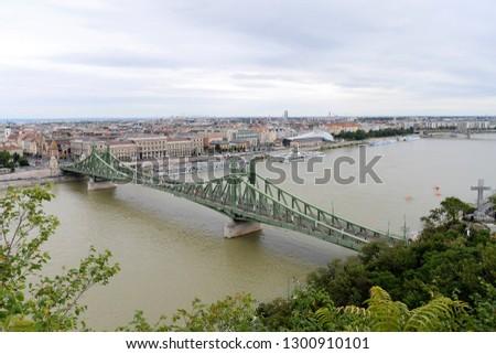 Budapest, Hungary - AUGUST 13, 2017: City panorama - bridge #1300910101