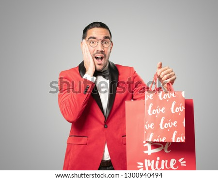Smart young man at Valentine's day. Concepts. Love #1300940494
