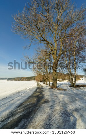 Frozen snow lane, Wintertime #1301126968