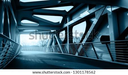 Curved steel girder bridge and highway pavement #1301178562