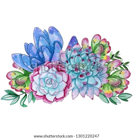 Watercolor handpainted succulent plant composition.Watercolor clipart,individual flower isolated on white background.Perfect for Your project,cover,wallpaper,pattern,gift paper,wedding