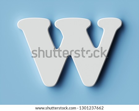 White paper letter alphabet character W font. Front view capital symbol on a blue background. 3d rendering illustration #1301237662