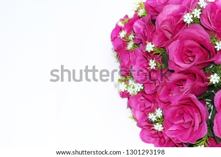 pink and white flowers border with empty space #1301293198