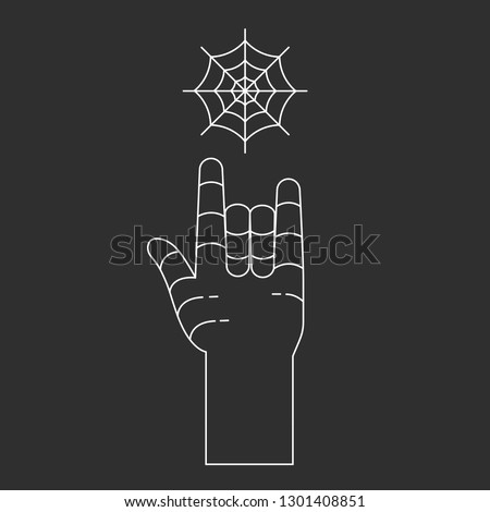 Rock and roll vector icon. Hand and web. Line art