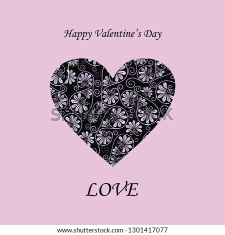 Happy Valentine's day card background with heart. Vector illustration for greeting postcard, romantic wedding invitation. Heart shape vector. Love illustration.  #1301417077