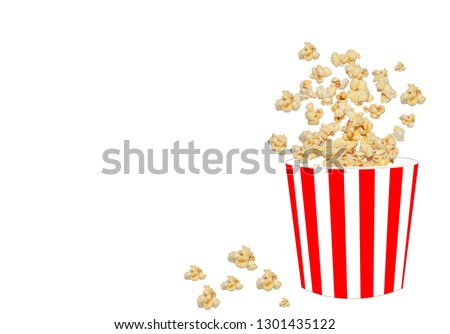 Paper cups that are overturned with delicious popcorn on a white background Space for text #1301435122