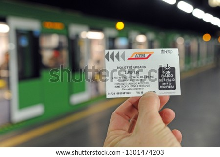 Milan , Italy february 1,2019 - Milan mayor's proposal to increase the cost of the ticket for 2 euro ATM public transport ( Tram, Streetcar, metro, underground and bus ) #1301474203