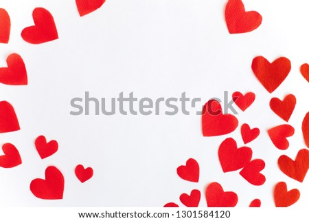 Frame of red paper hearts with space for text the centre on white background. Flat lay, top view Valentines Day background love concept. #1301584120
