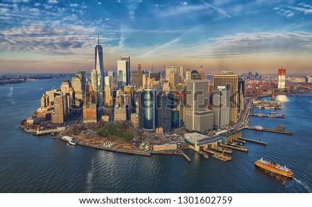 Manhattan financial disctrict skyscrapers skyline                   Royalty-Free Stock Photo #1301602759