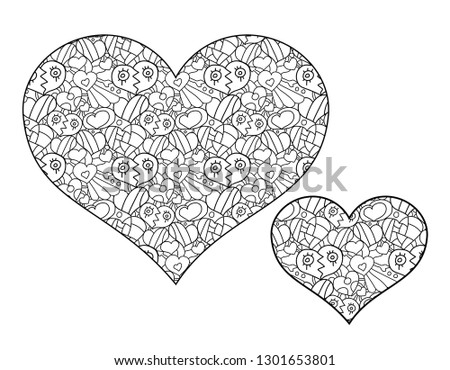 Heart, hand drawing coloring for kids and adults. Many small details, pattern, sketch, doodle heart, zentangle vector design for colouring book #1301653801