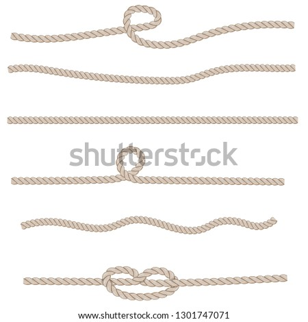 Set of different knots and loops on ropes on white, nautical collection vector illustration #1301747071