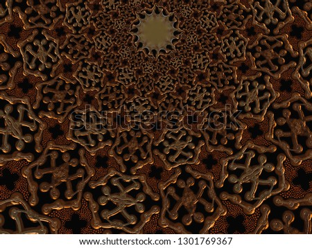 A hand drawing pattern made of copper on a black background. #1301769367