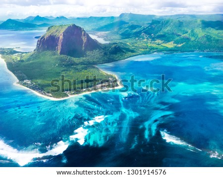 Mauritius with beautiful underwater waterfall and le Morne mountain #1301914576
