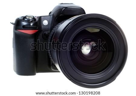digital single lens reflex camera with zoom lense isolated on white background #130198208