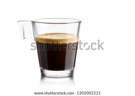 Black coffee in glass cup on white background #1302002221
