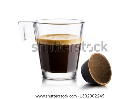 Black coffee in glass cup with coffee waffle on white background #1302002245
