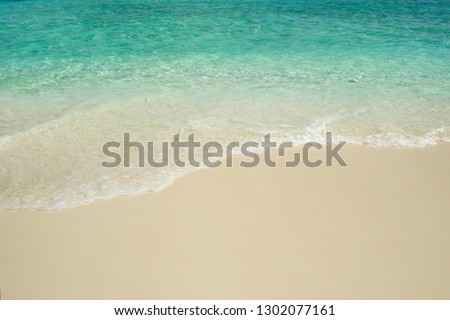 Secluded island. Paradise tropical island, white sand and clear water. Waves on the background of sand, copy space #1302077161