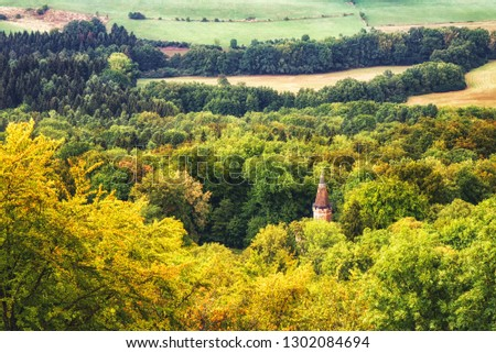 Hechingen, Germany - August 17, 2018: Tower of the Hohenzollern Castle in Germany. #1302084694