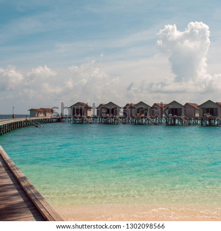 Love on Paradise island, concept. Bungalow on stilts in the water, amazing tropical nature. Maldives resort, the private island, solitude for tourists. #1302098566