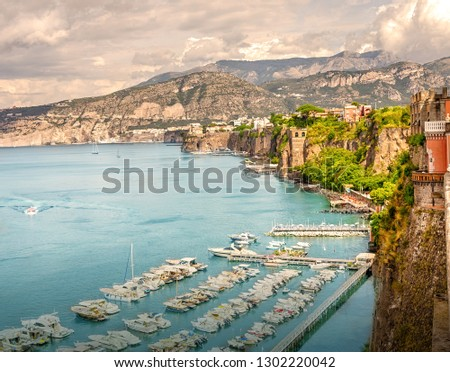The sea coast of the resort town of Sorrento. Campania. Italy. #1302220042