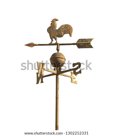 wind vane to indicate the wind direction and the metal cock above the arrow and cardinal points North East South West #1302252331