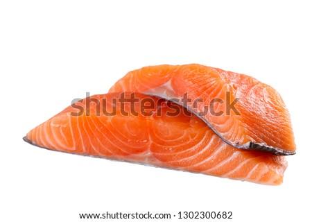 Fresh salmon fish isolated on white background without shadow - Image #1302300682