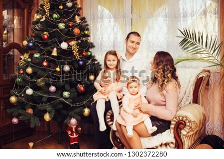 happy family celebration of New Year holidays #1302372280