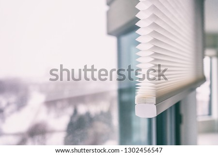 Home blinds - cordless cellular honeycomb pleated shade modern shades on apartment windows. Automated curtains blind. #1302456547