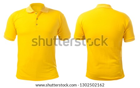 Blank collared shirt mock up template, front and back view, isolated on white, plain yellow t-shirt mockup. Polo tee design presentation for print. #1302502162