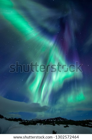 Stunning colorful Aurora Borealis Iceland #1302572464