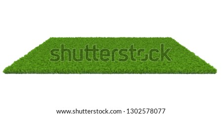 Green lawn on white background. 3D illustration #1302578077