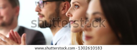 Group of people clap their arm in row during seminar portrait. Great news brief achievement win deal good job happy birthday employee introduce party positive welcome effective speech concept #1302610183