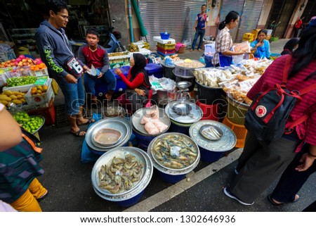 Hat Yai, Thailand – January 5, 2019: People shopping in Kim Yong fresh market at Hat Yai, Song Khla street. #1302646936