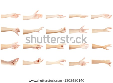 left hand multiple collection of asian in gestures with white skin isolated on white background #1302650140