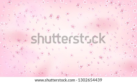Nice Sakura Blossom Isolated Vector. Spring Flying 3d Petals Wedding Pattern. Japanese Funky Flowers Illustration. Valentine, Mother's Day Magic Nice Sakura Blossom Isolated on Rose #1302654439