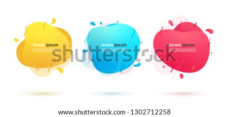 Abstract liquid shapes banners with geometric lines and dots. Dynamic color elements for design. #1302712258