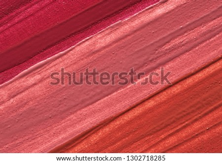 Makeup smear of lip gloss isolated on white background. Lipstick texture isolated on white background #1302718285