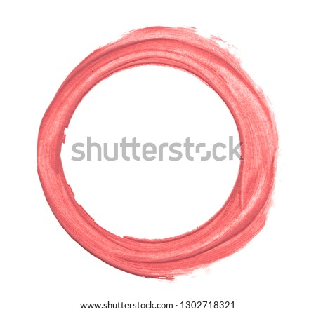 Pink makeup smear of lip gloss round shape isolated on white background. Pink lipstick texture isolated on white background #1302718321