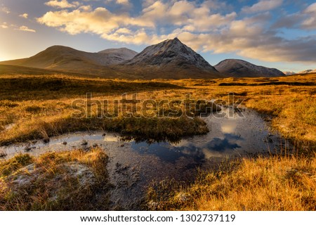 Golden Morning Light At Rannoch Moor With Snowcapped Scottish Mountains. Royalty-Free Stock Photo #1302737119