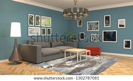 Interior of the living room. 3D illustration #1302787081