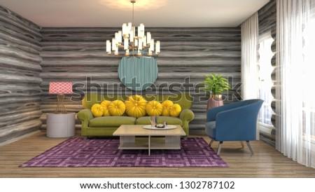 Interior of the living room. 3D illustration #1302787102