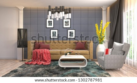 Interior of the living room. 3D illustration #1302787981