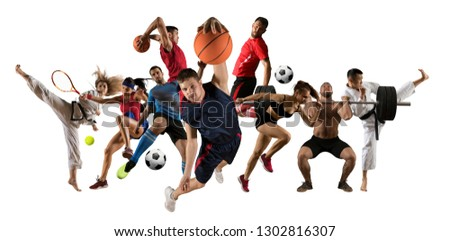 Huge multi sports collage taekwondo, tennis, soccer, basketball, football, judo, etc #1302816307