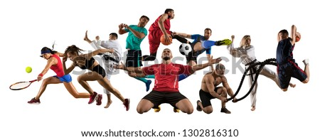 Huge multi sports collage taekwondo, tennis, soccer, basketball, football, judo, etc #1302816310